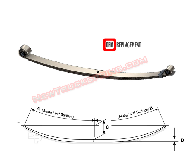 Replacement 1999 2004 Ford F450 F550 4wd Front Leaf Spring X Code 2 Leaves