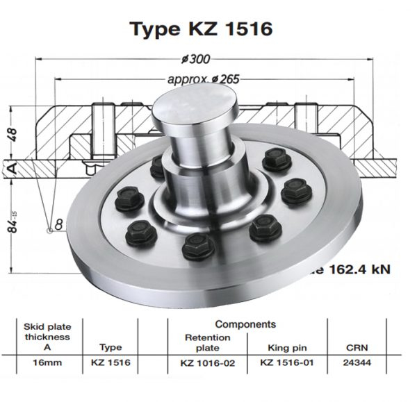 Replacement Jost KZ 1516 Bolted King Pins 50mm