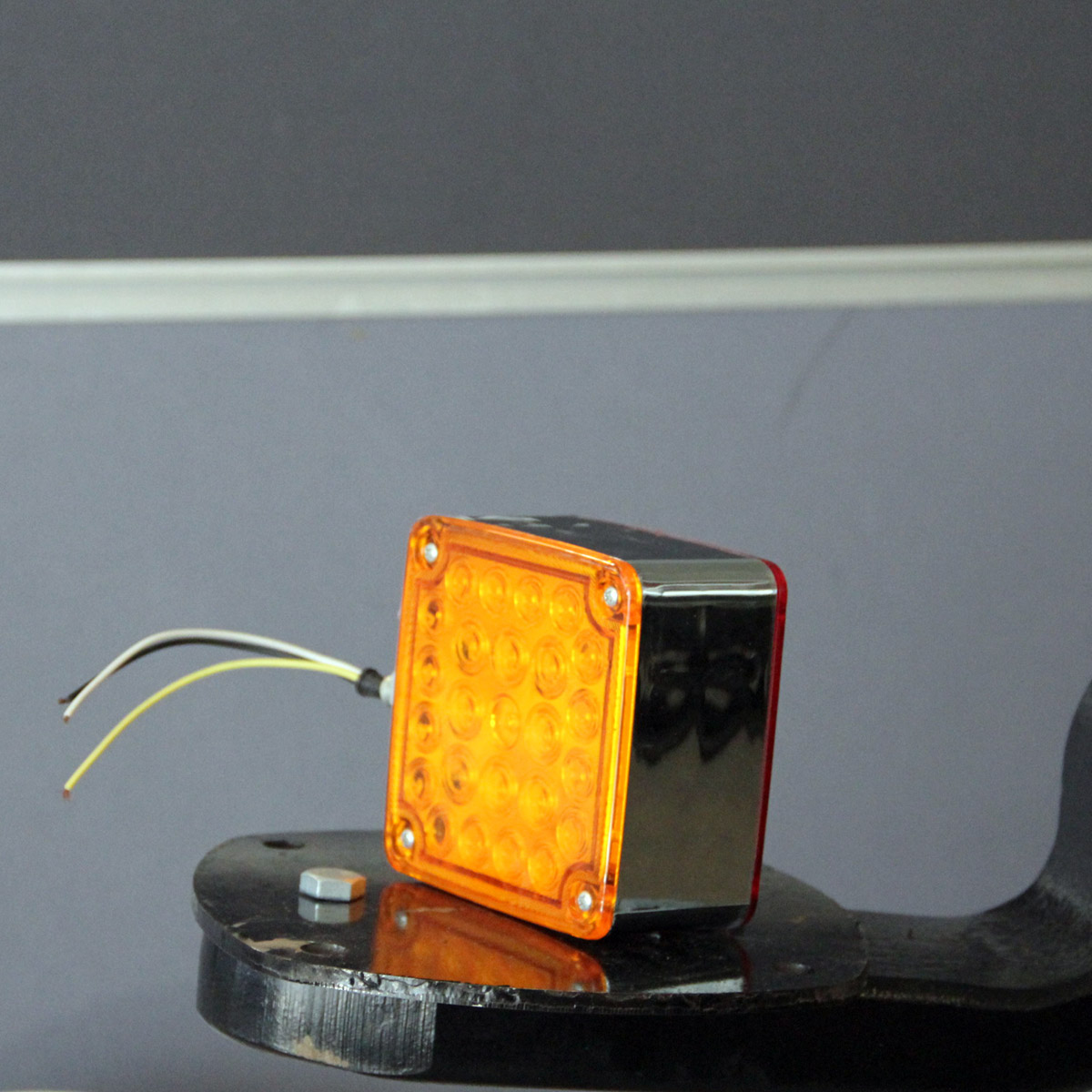 Square Front Turn Signal Lamp Red And Amber Chrome
