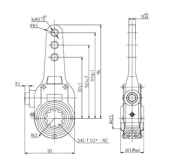 Haldex KN47001 Slack Adjuster 1.5 inch haldex semi trailer wiring diagram gandul 45 77 79 119 Phillips SAE J560 at bayanpartner.co